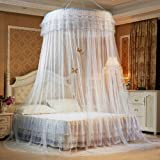 Guerbrilla Luxury Princess Pastoral Lace Bed Canopy Net Crib Luminous Butterfly, Round Hoop Princess Girl Pastoral Lace Bed C