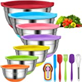 Mixing Bowls with Airtight Lids, 11pcs Stainless Steel Nesting Mixing Bowls Set – Non-slip Silicone Bottom, Size 7, 5.5, 4, 3