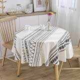 ICBAL Black White Round Tablecloth Cotton Linen Table Cloth Kitchen Dining Outdoor Fabric Table Décor for Parties 60 inch Whi