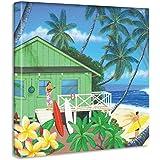 ハワイ アロハ アートパネル 30cm × 30cm 日本製 ポスター おしゃれ インテリア 模様替え リビング 内装 サーフ 夏 海 ファブリックパネル hrk-0008