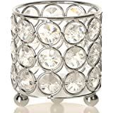 VINCIGANT Handcrafted Crystal Candle Holders,Round Metal Arrangement Container,Table Centerpieces for Dining/Living Room Deco