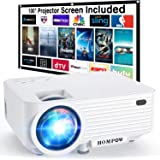 """Video Projector, 4500L Portable Mini Projector with 100"""" Projector Screen, 1080P Supported Movie Projector Compatible with TV"""