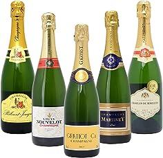 △高コスパ・高品質シャンパン5本セット((W0CG01SE))(750mlx5本ワインセット)