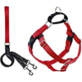 """2 Hounds Design Freedom No-Pull Dog Harness Leash, Adjustable Comfortable Control Dog Walking, Made in USA (XSmall 5/8"""") (Red"""
