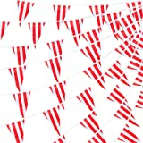 RUBFAC 170ft 120pcs Red and White Striped Pennant Banner Flags String Triangle Bunting Flags, Party Decorations Supplies for