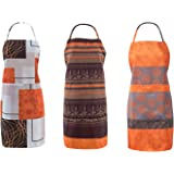 FBTS Prime Cute Apron Kitchen Sets 3 Pack for Women and Men Water Resistant Adjustable Buckles with Two Big Front Pockets Flo