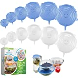 Eco-Outlet Silicone Stretch Lids, Food Covers,12 Pack Silicone Lids, Reusable Silicone Covers, Stretchable to Fit Various Sha