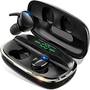 【次世代 最新Bluetooth5.1技術 瞬時接続】 Bluetooth イヤホン Hi-Fi高音質 蓋を開けたら接続 LEDデジタル残量表示 4000mAh充電ケース付 自動ペアリング 最大680時間待ち受け 完全ワイヤレス イヤホン 3Dステレオサウンド CVC8.0ノイズキャンセリング AAC対応 IPX7防水 両耳 左右分離型 ブルートゥース イヤホン 音量調整 マイク内蔵 ハンズフリー通話 技適認証済 iPhone/iPad/Android対応 (S8 ワイヤレス イヤホン)