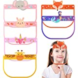 6 Pieces Kids Cute Face Covering Shields with Clear Visor Elastic Band and Comfort Sponge Reusable Anti Dust Fog Face Coverin