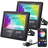60W RGB Led Flood Light,Bluetooth Mesh App Control LED Flood Light,IP66 Waterproof Dimmable Color Changing Landscape Light,Di