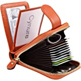 Women's 16 Slots Leather Card Holder Case zipper Around Compact Accordion ID Wallet