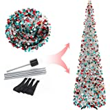 Joy-Leo 6 Foot Multicolored Silver Sequin Pop Up Tinsel Christmas Tree, Easy to Assemble and Store, for Small Spaces Apartmen