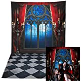 Allenjoy 5x7ft Durable/Soft Fabric Halloween Backdrop Vampire Medieval Castle Gothic Window Moon Bats Photography Background