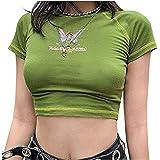Women's Basic Short Sleeve Slim Fit Crop Top Gothic Graphic Print Scoop Neck Kawaii Crop T-Shirt Blouse Streetwear