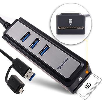 [カードリーダー+ Micro USB OTG] Inateck USB3.0 マルチ・イン・ワン 高速ハブ 3ポート バスパワー 5ピンMicroインターフェース付き ウルトラブックやタブレットPC用コンパクトカードリーダー、SD、SDHC、SDXC対応 - OTG機能付き