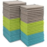 AIDEA Microfiber Cleaning Cloths All-Purpose Softer Highly Absorbent (Pack-50), Lint Free - Streak Free Wash Cloth for House,