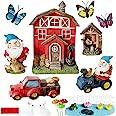 Miniature Gnome Garden Kit Accessories- Small Red Barn Farm Gnome Figurines Statue Set for Outdoor Fairy Garden Decor with Fe