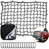 Seven Sparta 5' x 7' Bungee Cargo Net Stretches to 10' x 14' for Truck Bed, Pickup Bed, Trailer, Trunk, SUV with 16 Bonus D C