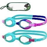 Monkey Forest Kid Swim Goggles, 2 Packs Anti-Fog Leak Kids Swimming Goggles, Adjustable Strap Flexible Nose Bridge Design, Wi