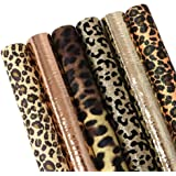 "David Angie Leopard Printed Faux Leather Sheet Metallic Burst Crack Synthetic Leather Fabric Assorted 6 PCS 7.9"" x 13.4"" (20"