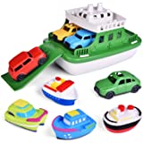 FUN LITTLE TOYS Toy Boat Bath Toys for Toddlers with 4 Cars Toys and 4 Bath Boats Squirters