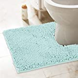 ITSOFT Non-Slip Shaggy Chenille Soft Microfibers Toilet Contour Bathroom Rug with Water Absorbent, Machine Washable, 21 x 24