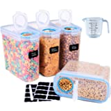 4L Large Cereal Containers Storage Set of 4, Airtight Food grade Plastic Kitchen Grain Storage,Dispenser Keepers,135.2oz for