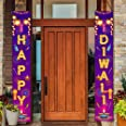 Happy Diwali Hanging Banner Party Decoration Supplies - Festival of Light Diwali Porch Sign Banner Flag Outdoor Decorations