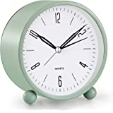 Analog Alarm Clock, 4 inch Super Silent Non Ticking Small Clock with Night Light, Battery Operated, Simply Design, for Bedroo