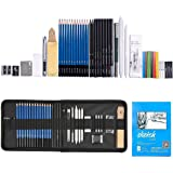 35pcs Graphite Drawing Pencils and Sketch Set ,Professional Drawing and Sketching Pencil Set in Zipper Carry Case with Rare P