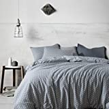 mixinni Luxury 3 Pieces Duvet Cover Set,100% Natural Cotton, Lemon Printed on King Size Blue Duvet Cover with Zipper&Ties, 1