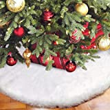 Aytai 120cm White Faux Fur Christmas Tree Skirt Luxury Soft Snow Tree Skirts for Xmas Holiday Decorations Pet favours