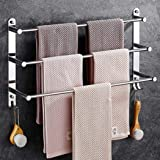 Towel Rail 3-Tier Bath Towel Rack with Hooks SUS 304 Stainless Steel Wall Mounted Towel Holder for Kitchen Bathroom Toilet Ho