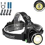 Headlamp Flashlight, 2 in 1 Newest Headlight T6 Spot(Zoomable)+COB Board Flood Light, 6000 Lumen Waterproof USB Rechargeable