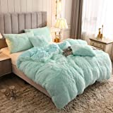 YOUHAM Solid Fluffy 1PC Faux Fur Plush Duvet Cover Luxury Shaggy Velvet Bedspread Zipper Closure (Aqua, King)