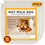 """Nut Milk Bags, All Natural Cheesecloth Bags, 12""""x12"""", 2 Pack, 100% Unbleached Cotton Cloth Bags for Tea/Yogurt/Juice/Wine/Sou"""