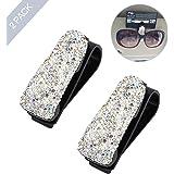 ROSON Sunglass Holder for Car Sun Visor, 2 Pack Glasses Holder Clip Hanger Eyeglasses Mount for Car with Bling Rhinestones Cr