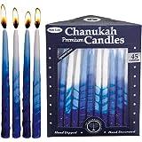 Rite-Lite Judaica Premium Chanukah Candles. Handcrafted, Tri-Color Blue/White Stripe. Box of 45