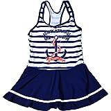 QLIyang Girls One Piece Swimsuit Rainbow Striped Swim Dress Crossback Beach Bathing Suit