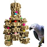 PINVNBY Large Parrot Toys Natural Wood Bird Chewing Toys Parakeet cage Hammock Hanging Toy for African Grey Macaws Cockatoos