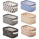 EZOWare 6 Pcs Foldable Storage Bins Baskets, Collapsible Fabric Shelf Organizer Set with Handles for Bathroom Makeup Books Nu