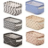 EZOWare Set of 6 Foldable Storage Bins Baskets, Collapsible Fabric Shelf Organizer Set with Handles for Bathroom Makeup Books