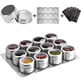 Aiyola Magnetic Spice Jars 12pcs with Wall Base, Stainless-Steel Magnetic Spice Container Dustproof Magnetic Spice Tins Easy