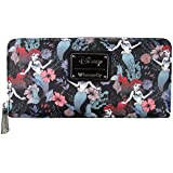 Loungefly x Ariel Floral Zip Around Wallet (Black, One Size)