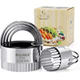 HULISEN Biscuit Cutter Set (5 Pieces/Set), Stainless Steel Round Biscuit Cutters with Handle, Wave Cookies Cutter with Fluted