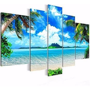 壁絵 Boybya インテリア 壁掛け絵画 風景 ハワイスタイル 海 フレームなし キャンバス 5pcs 現代 壁飾り 部屋飾り 廊下 リビングルーム ベッドルーム 美術室 高級感 モダン オシャレ
