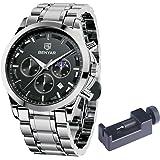 BENYARメンズ 腕時計アナログクォーツムーブメントスタイリッシュなクロノグラフ ウォッチ カジュアルスポーツデザイン ステンレスストラップ 30M防水エレガントギフト男性のための