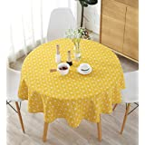 Meiosuns Tablecloths Cotton Linen Tablecloth Simple Style Twill Tablecloths Multi-Purpose Indoor and Outdoor, Yellow, Diamete