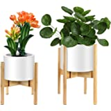 Mid-Century Plant Stand by ZERLA, Bamboo Wood Flower Pot Holder Display, Up to 12 Inch Planter - Planter Not Included (2 Pack