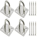 Hulless 2 x 1.6 Inch Stainless Steel Ceiling Hook Pad Eye Plate Marine Hardware Staple Hook Loop Screws Mount 4 Pcs.